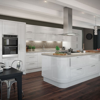 Leighton Gloss White Traditional Kitchen